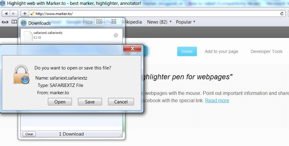 Yellow highlighter Safari install